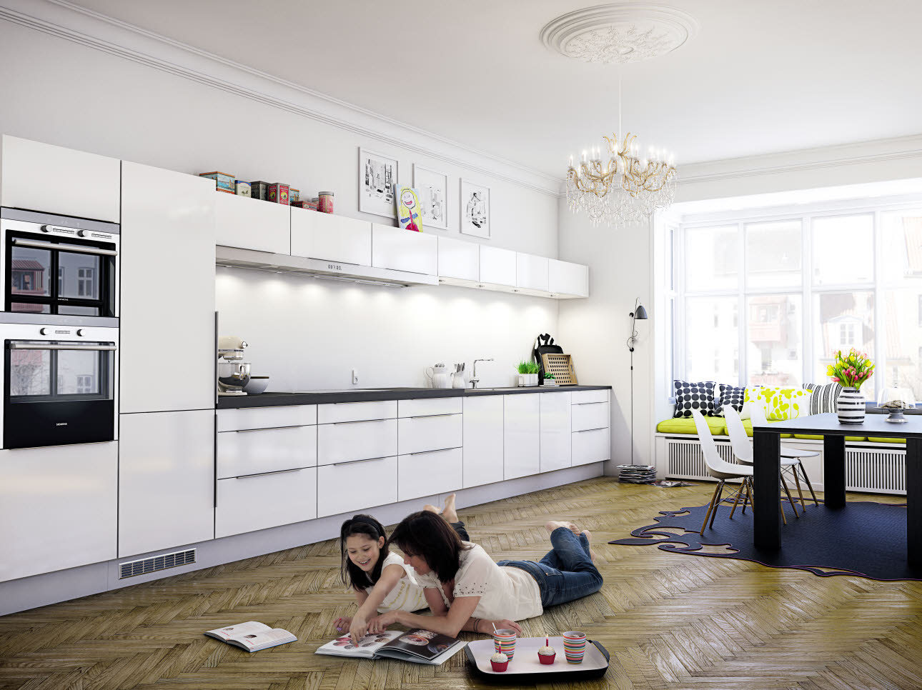 Classic white kitchen for every purpose