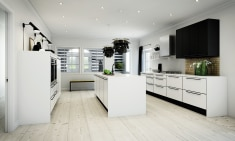 Gastronomic kitchen with beautiful contrasts